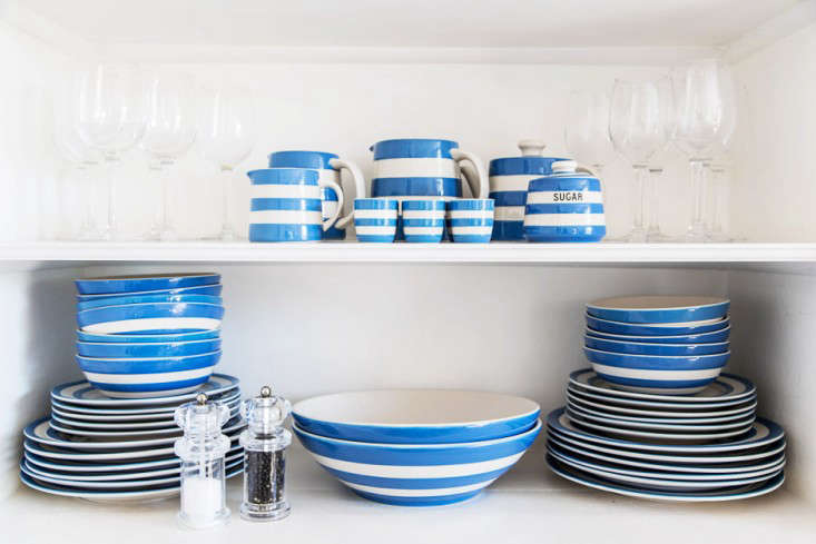 shelves in the dining room are stocked with cornishware, named for the blue sky 10