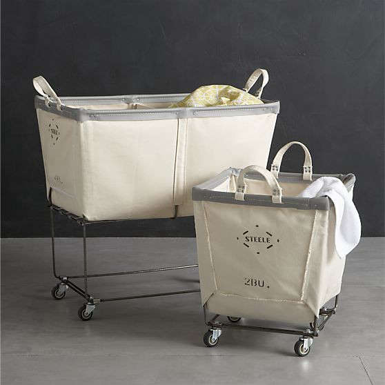 crate barrel steele canvas wheeled baskets