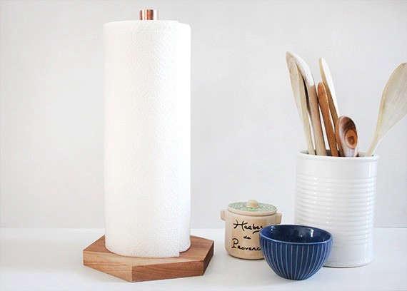 diy copper wood paper towel holder 1