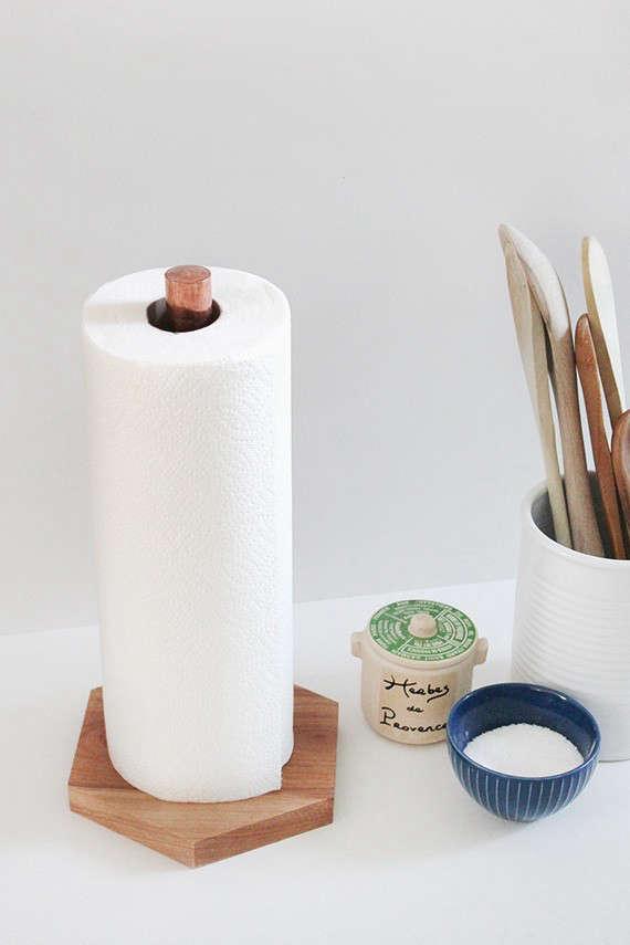 diy copper wood paper towel holder 3