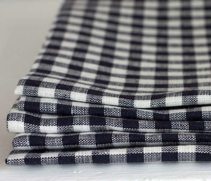 fog linen work kitchen cloth navy white check remodelista