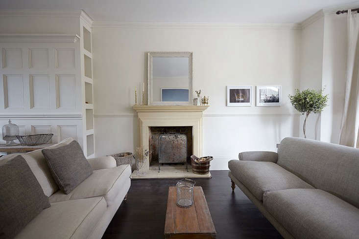 Sturdy, neutral couches inHouse Call: Endless Summer in a London Victorian.
