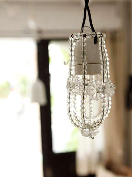 glass beaded light bulb cover