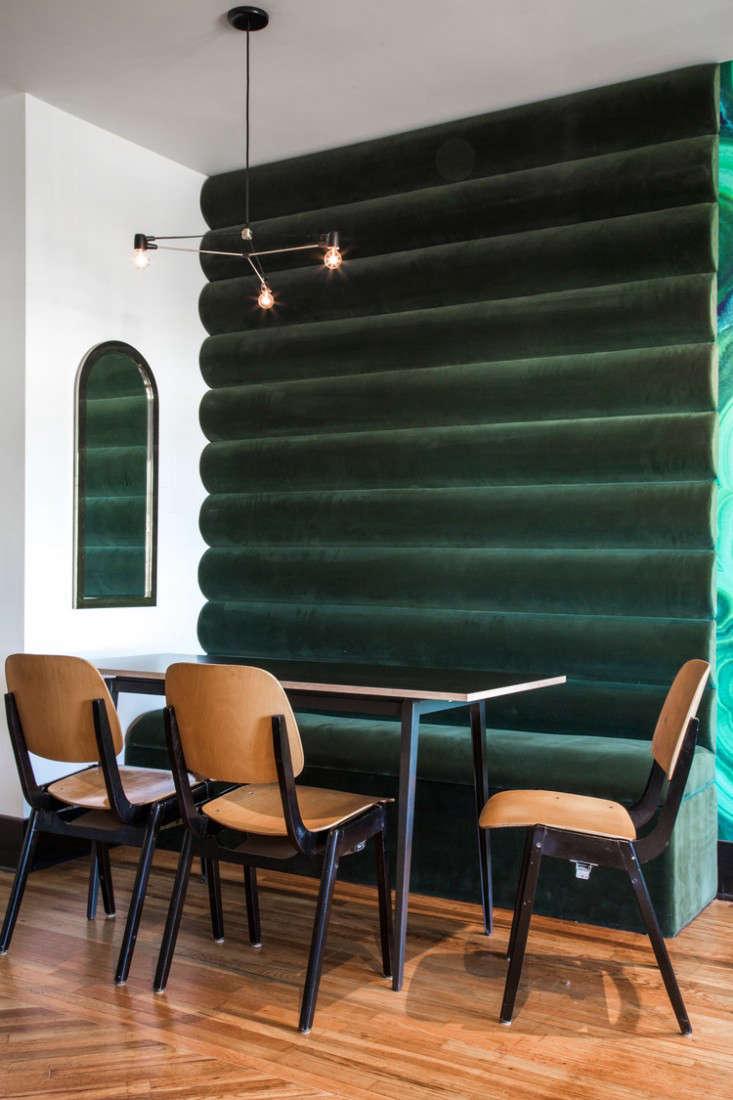 hotel covell green velvet wall
