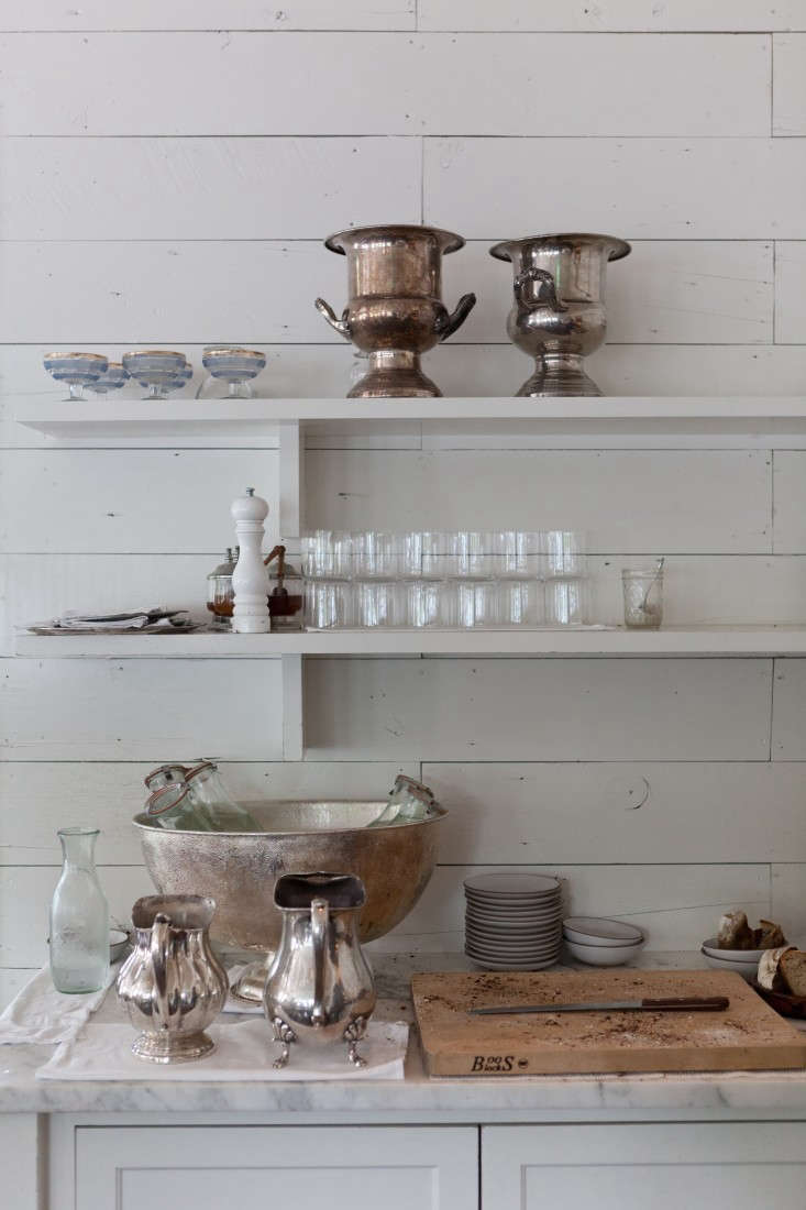 atjosephine house, in austin, open shelves hold vintage silver pieces and ser 16