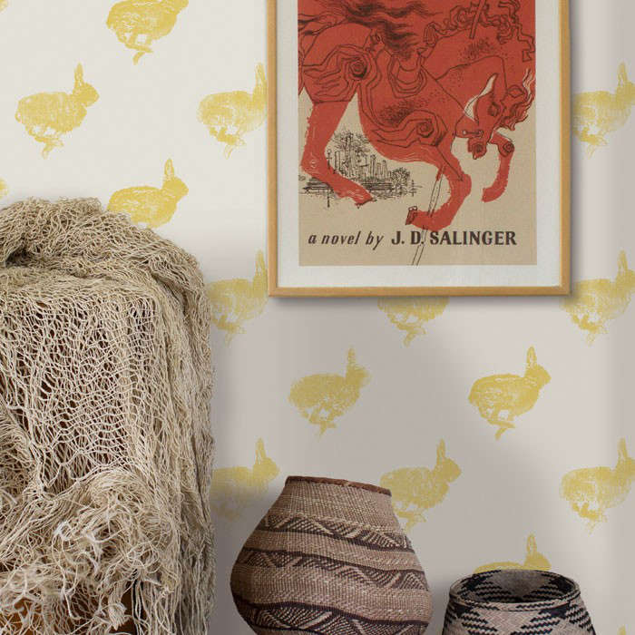 bun wallpaper from lake august features a running bunny pattern on clay coated  9