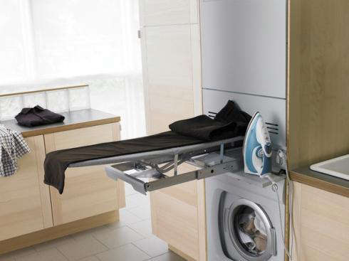 maytag ironing board in laundry room concept