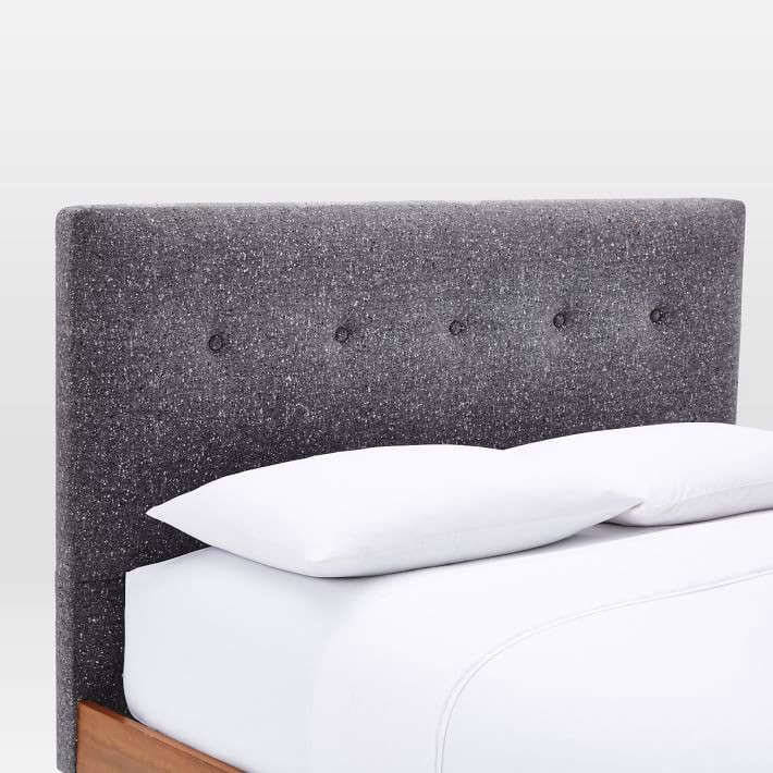 mid century button tufted bed tweed west elm remodelista