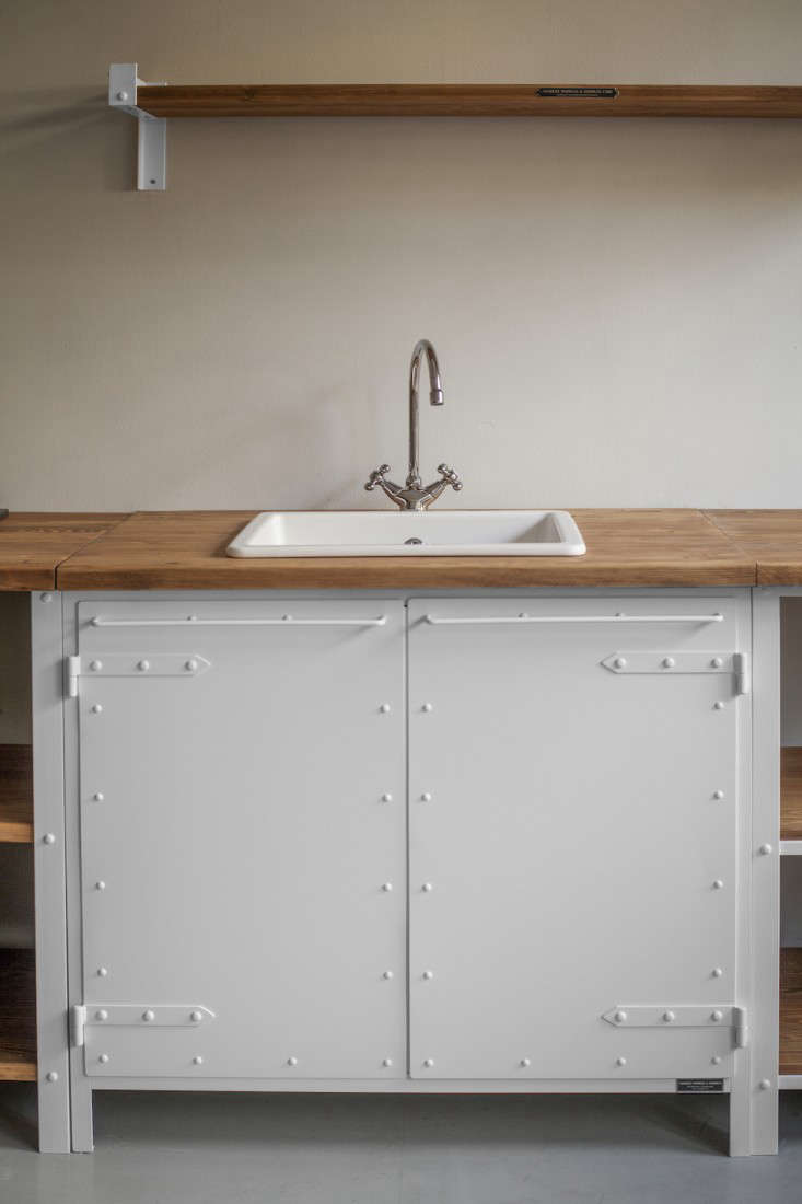 A sink installed in the Kuchenschrank Steel Unit;pricing starts at €loading=