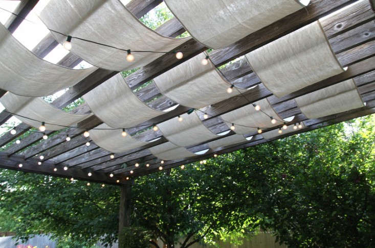 Jenny of Anything Pretty used drop cloths to create a shaded pergola; see DIY: Instant Painter's Drop Cloth Pergola, over on Gardenista.
