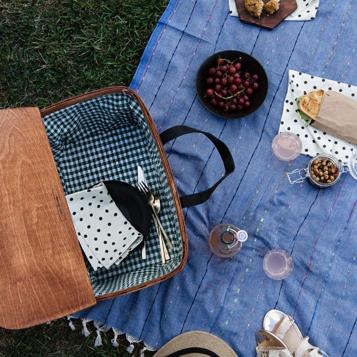 A New Classic:the gingham-lined woven wooden picnic basket with leather handles from A Sunny Afternoon, LA creative director and blogger Sarah Sherman Samuel&#8