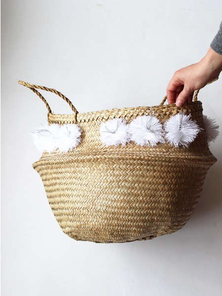 pom pom basket white