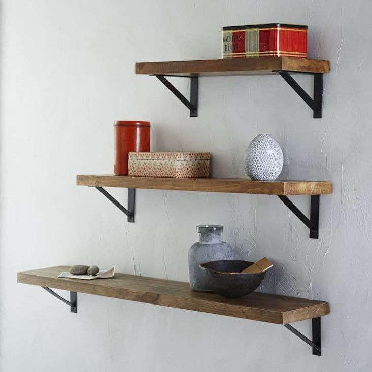 reclaimed wood shelf basic brackets west elm remodelista