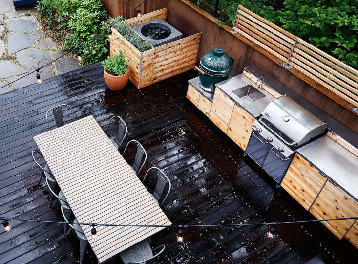 An outdoor kitchen in Red Hook, Brooklyn, by New Eco Landscapes.