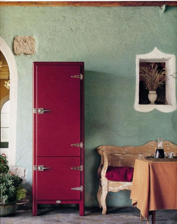 """A crimson refrigerator/freezerIce Chest"""" from Meneghini of Longino, Italy, available fromThe Barn in the UK."""