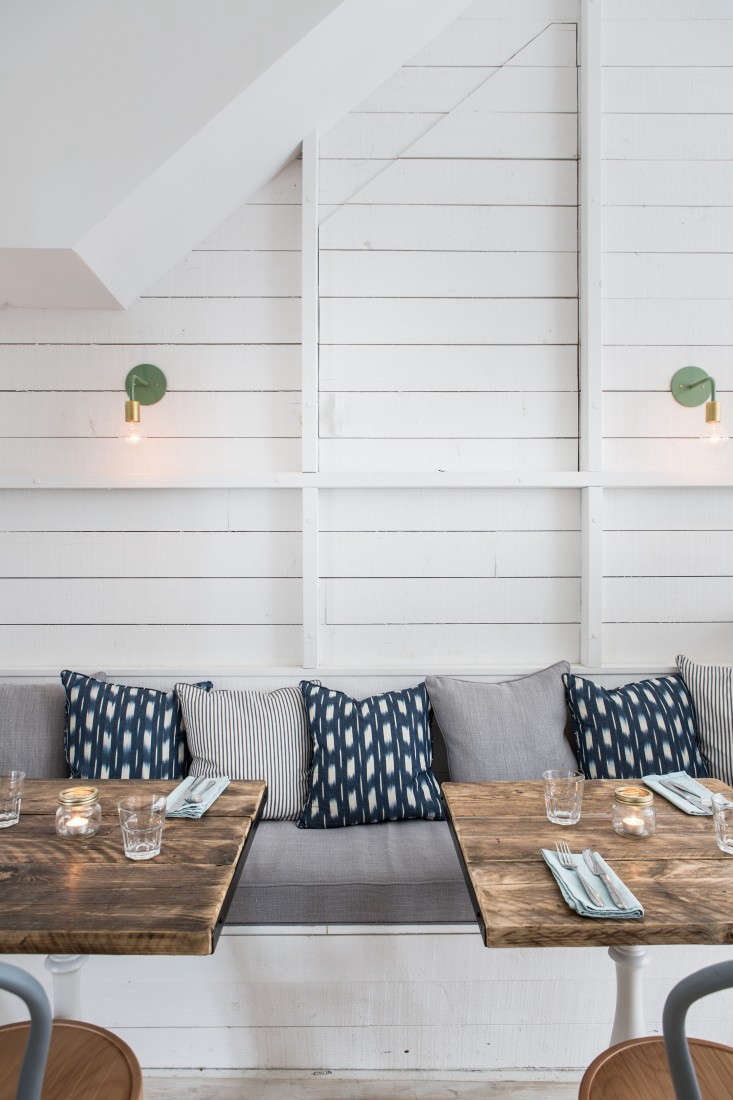a restaurant in london takes cues from california beach cafes, shiplap paneling 19
