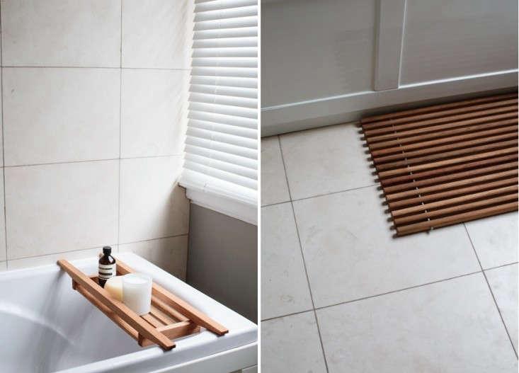 above l: a bamboo bath tray. above r: a skagerak bamboo floor mat from denmark, 19