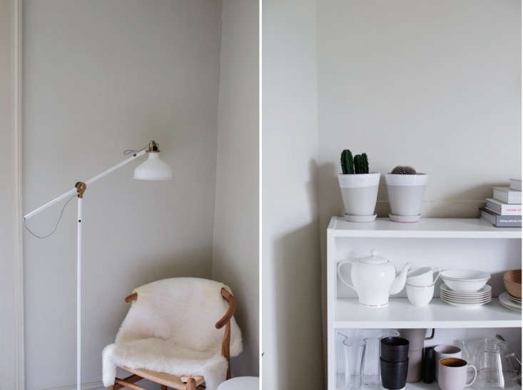 above l:in a high/low corner, a hans wegner wishbone chair draped with an ice 16