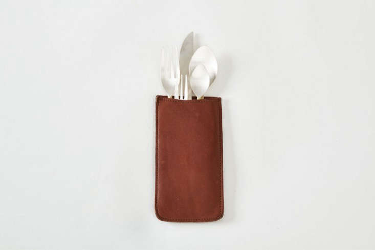 rth saddle leather silverware holder brown remodelista