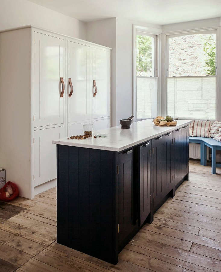Dark-hued beadboard cabinetry in In the Kitchen with Skye Gyngell, London's Chef du Jour.