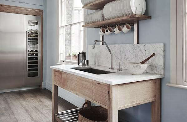 The Brasserie Kitchen from Smallbone of Devizes includes a freestanding sink with plate rack.