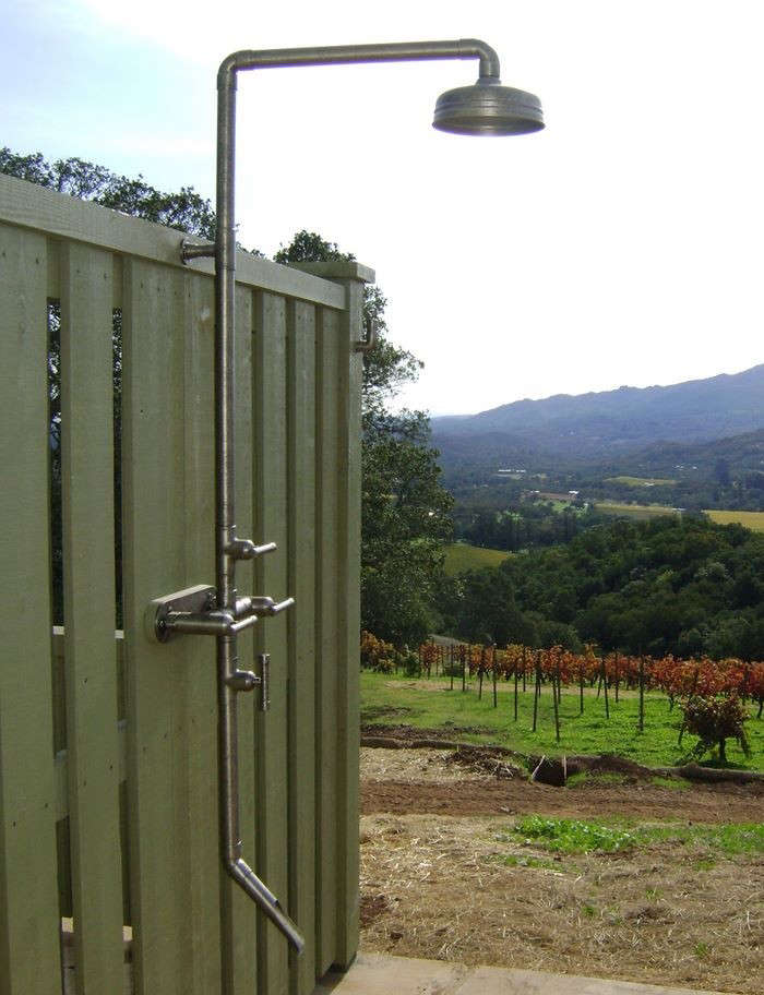 sonoma forge outdoor shower in vineyard