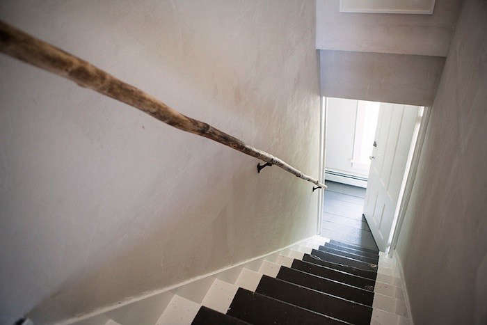 We love the subtlety of this long branch repurposed as a stair rail at Table on Ten: A Room with a View in Upstate NY. For the how-to, seeDIY: Tree Branch as Hand Rail. &#8