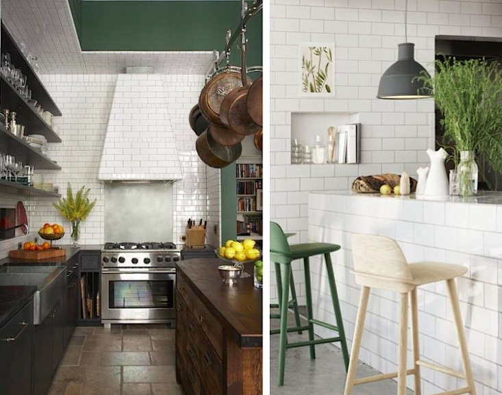 Above L: In the loft of New York events planner Bronson van Wyck, Made LLCdefined the cooking area with ceramic subway tile, vent hood included (for more, see our Steal This Look). Above R: A Netherlands kitchen with tiled island base and wall with a storage niche, via Muuto.