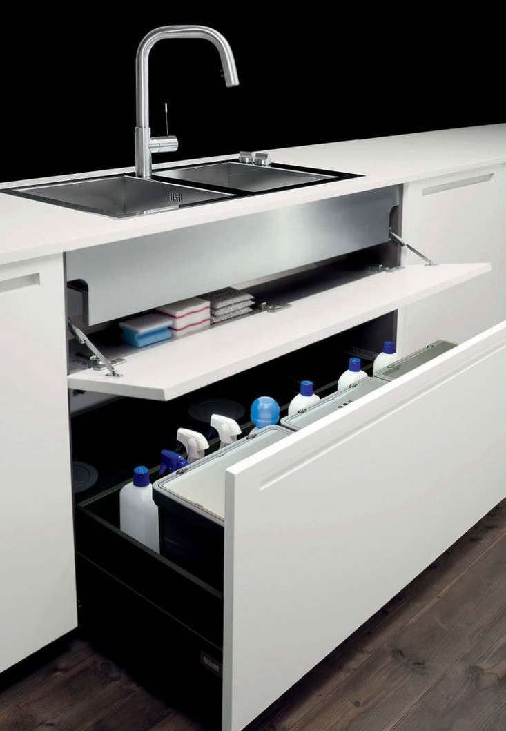 A storage drawer under the sink from Boffi.