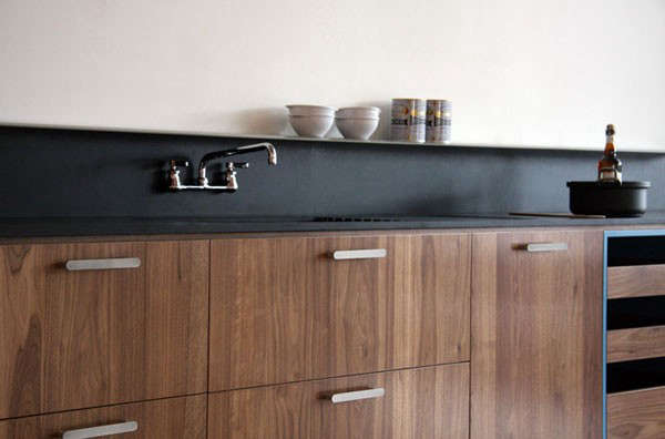 A backsplash made from Paperstone, a recycled paper counter material, byViola Park.