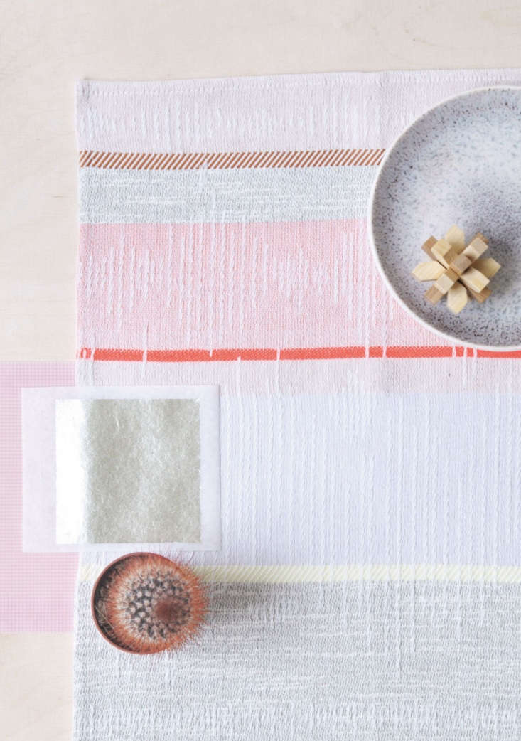 Artful Textiles from a Dutch Colorist Lil+Lila woven placemats from Mae Engelgeer