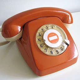 60s orange rotary phone