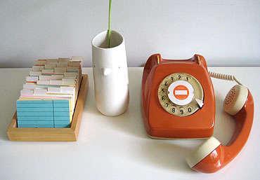 60s orange rotary phone 1
