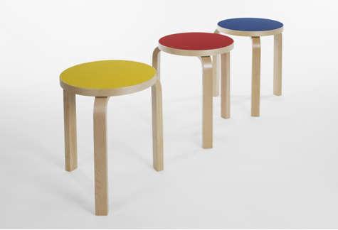 artek stool yellow red blue