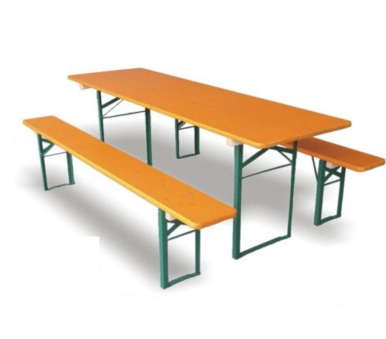 Outdoors European Biergarten Table and Bench Set portrait 4