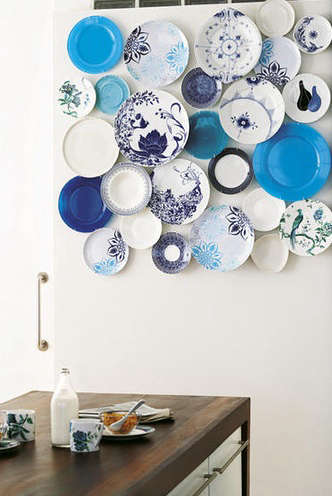 blue plates on wall