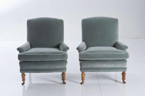 blue velvet chairs red ticking 2
