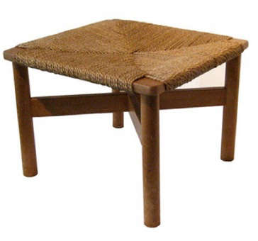 Furniture Vintage Japanese Stool with Woven Seat portrait 3