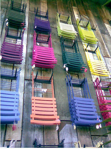 flora grubb colorful chairs