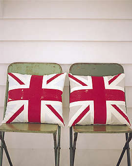 Holiday Gift Union Jack Pillow portrait 3