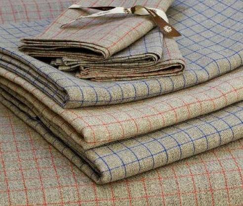 grey linen check tablecloth