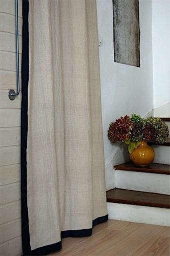 hemp with black border curtain