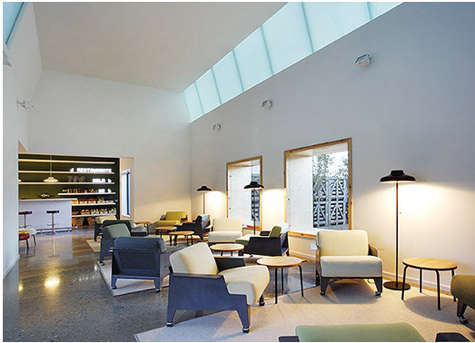 hotel aire lobby with skylight