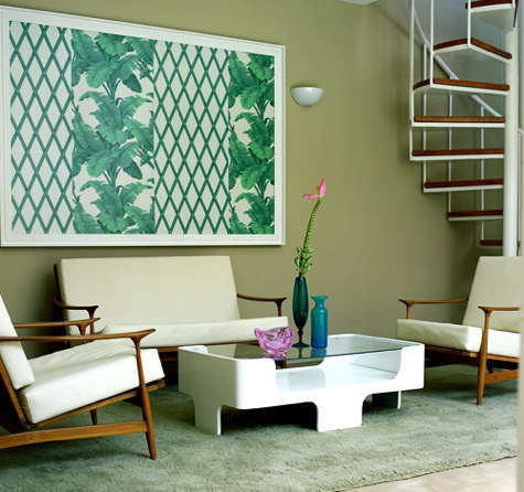 hotel home lounge with green art