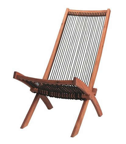 Furniture Outdoor Folding Rope and Wood Chair portrait 3