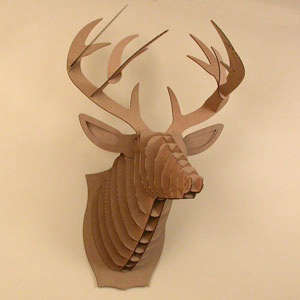 large deer head cardboard safari
