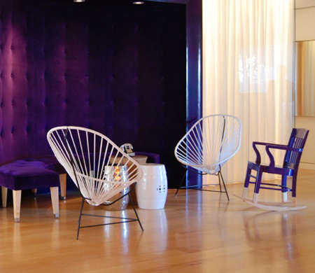 mondrian hotel lobby purple rocker