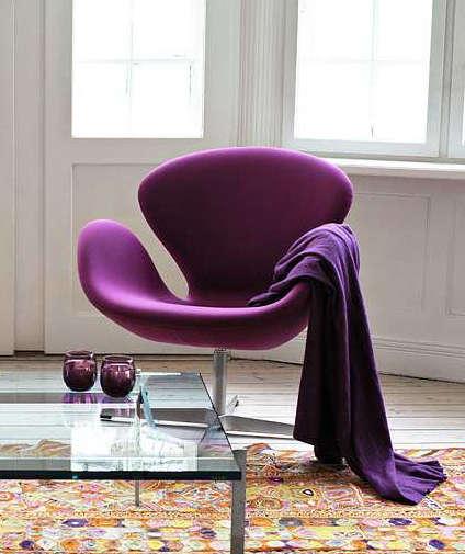 purple fritz hansen chair