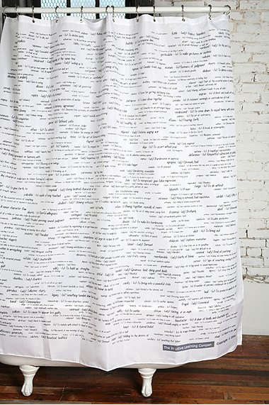 Bath SAT Words Shower Curtain at Urban Outfitters portrait 3