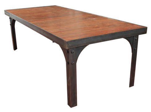 steel table with fir top